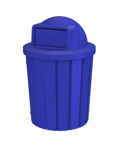 42 Gallon Blue Slatted Trash Receptacle, Dome Top Lid