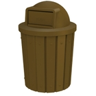 42 Gallon Brown Slatted Trash Receptacle, Dome Top Lid