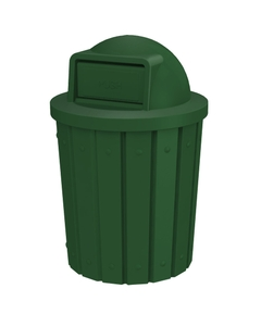 42 Gallon Green Slatted Trash Receptacle, Dome Top Lid