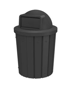 42 Gallon Black Slatted Trash Receptacle, Dome Top Lid