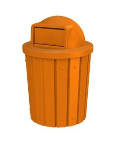 42 Gallon Orange Slatted Trash Receptacle, Dome Top Lid