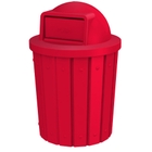 42 Gallon Red Slatted Trash Receptacle, Dome Top Lid