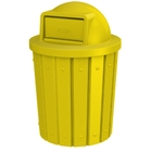 42 Gallon Yellow Slatted Trash Receptacle, Dome Top Lid