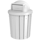 42 Gallon White Slatted Trash Receptacle, Dome Top Lid