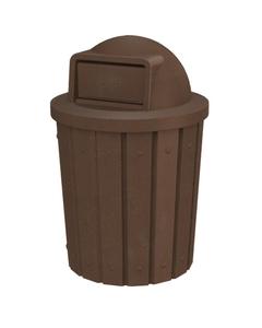 42 Gallon Brown Granite Slatted Trash Receptacle, Dome Top Lid