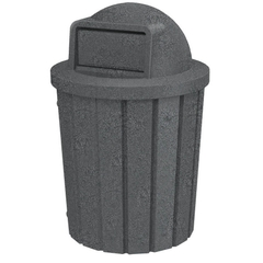 42 Gallon Dark Granite Slatted Trash Receptacle, Dome Top Lid