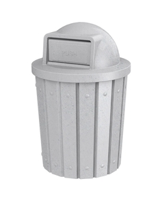 42 Gallon Light Granite Slatted Trash Receptacle, Dome Top Lid