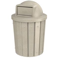 42 Gallon Beige Granite Slatted Trash Receptacle, Dome Top Lid