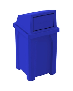 32 Gallon Blue Square Trash Receptacle, Dome Top Lid