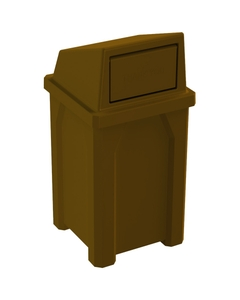 32 Gallon Brown Square Trash Receptacle, Dome Top Lid