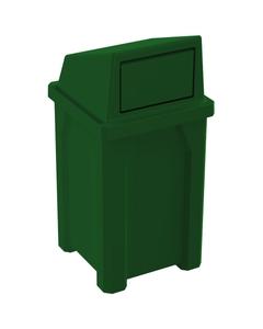 32 Gallon Green Square Trash Receptacle, Dome Top Lid