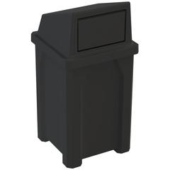 32 Gallon Black Square Trash Receptacle, Dome Top Lid