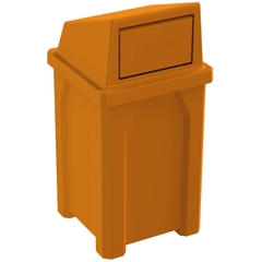 32 Gallon Orange Square Trash Receptacle, Dome Top Lid