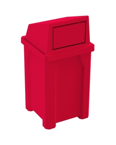 32 Gallon Red Square Trash Receptacle, Dome Top Lid