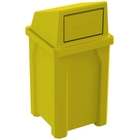 32 Gallon Yellow Square Trash Receptacle, Dome Top Lid