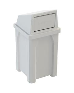 32 Gallon White Square Trash Receptacle, Dome Top Lid