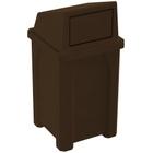 32 Gallon Brown Granite Square Trash Receptacle, Dome Top Lid