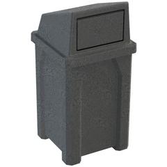 32 Gallon Dark Granite Square Trash Receptacle, Dome Top Lid