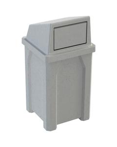 32 Gallon Light Granite Square Trash Receptacle, Dome Top Lid