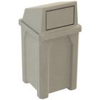 32 Gallon Beige Granite Square Trash Receptacle, Dome Top Lid