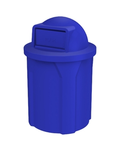 42 Gallon Blue Trash Receptacle, Dome Top Lid
