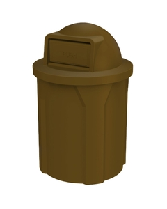 42 Gallon Brown Trash Receptacle, Dome Top Lid