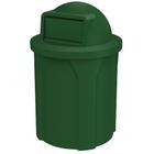 42 Gallon Green Trash Receptacle, Dome Top Lid