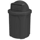 42 Gallon Black Trash Receptacle, Dome Top Lid
