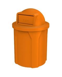 42 Gallon Orange Trash Receptacle, Dome Top Lid
