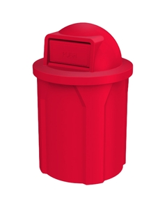 42 Gallon Red Trash Receptacle, Dome Top Lid