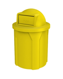 42 Gallon Yellow Trash Receptacle, Dome Top Lid