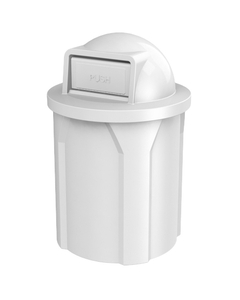 42 Gallon White Trash Receptacle, Dome Top Lid