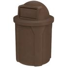 42 Gallon Brown Granite Trash Receptacle, Dome Top Lid