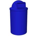 55 Gallon Blue Trash Receptacle, Dome Top Lid