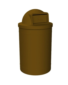 55 Gallon Brown Trash Receptacle, Dome Top Lid