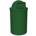 55 Gallon Green Trash Receptacle, Dome Top Lid