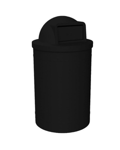 55 Gallon Black Trash Receptacle, Dome Top Lid