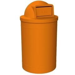 55 Gallon Orange Trash Receptacle, Dome Top Lid