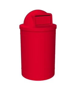 55 Gallon Red Trash Receptacle, Dome Top Lid