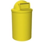 55 Gallon Yellow Trash Receptacle, Dome Top Lid