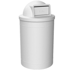 55 Gallon White Trash Receptacle, Dome Top Lid
