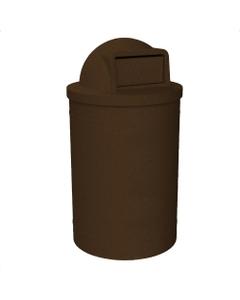 55 Gallon Brown Granite Trash Receptacle, Dome Top Lid