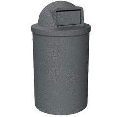55 Gallon Dark Granite Trash Receptacle, Dome Top Lid