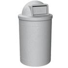 55 Gallon Light Granite Trash Receptacle, Dome Top Lid