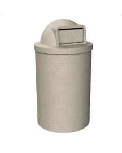 55 Gallon Beige Granite Trash Receptacle, Dome Top Lid