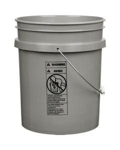 5 Gallon Gray Plastic Pail (90 mil), w/Metal Handle (P5 Series)