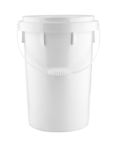 6 Gallon White Twist and Lock Pail with Plastic Handle, UN Rated