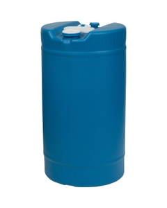"""15 Gallon Blue Tight Head Round Plastic Drum with 2"""" and 3/4"""" Fittings, UN Rated"""