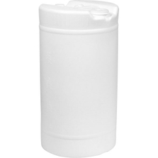 """15 Gallon White Tight Head Round Plastic Drum with 2"""" and 3/4"""" Fittings, UN Rated"""