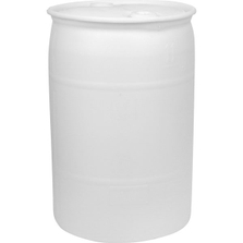 """30 Gallon Natural Tight Head Plastic Drum, UN Rated, Two 2"""" Fittings"""